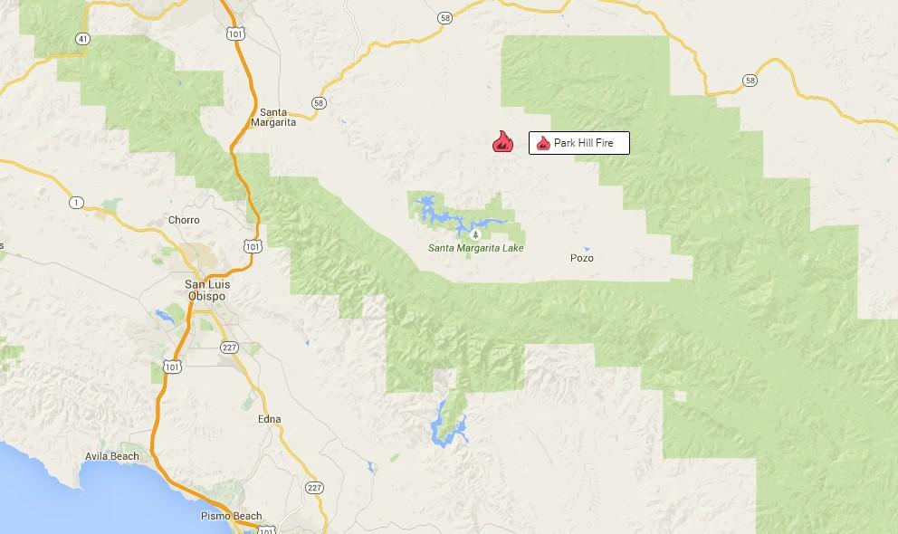 San Margarita Fire Map 2015 Park Hill Wildfire In San Luis Obispo Co