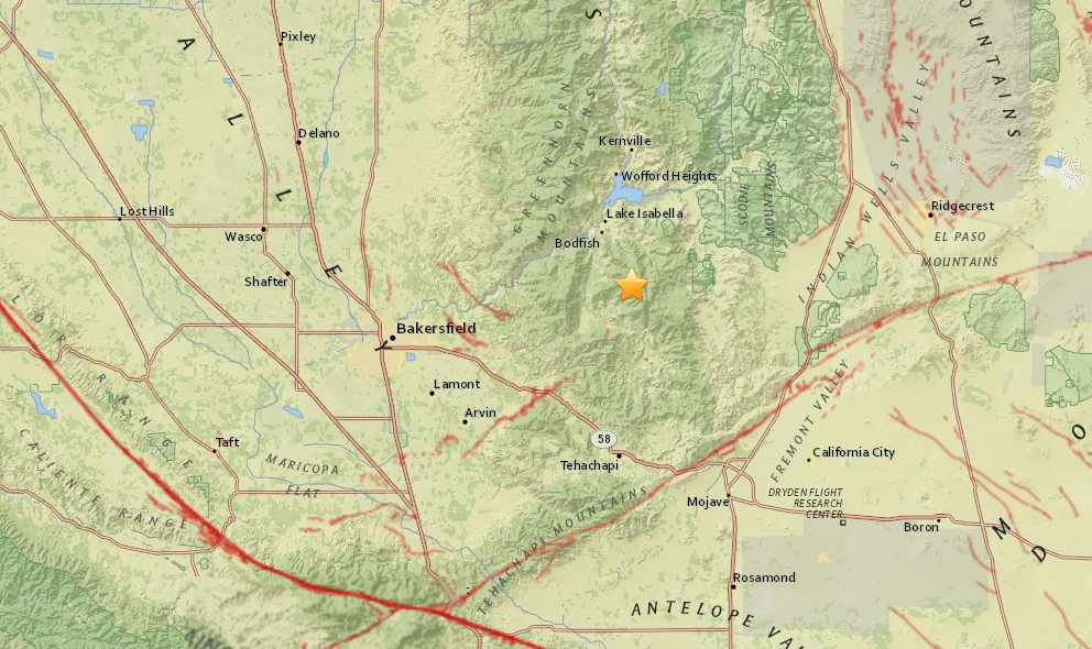 California Earthquake Today 2015 Strikes East of Bakersfield