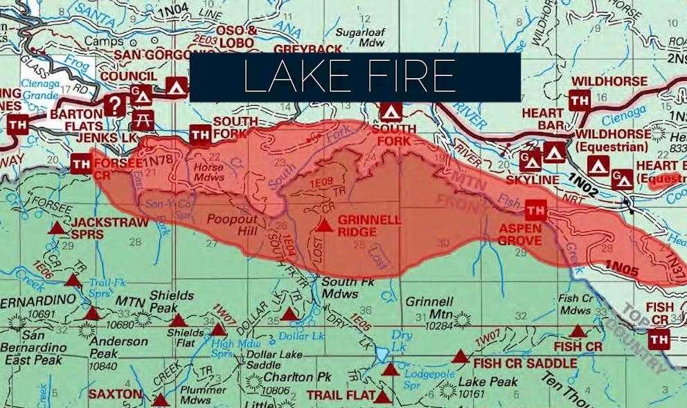 Lake Fire Map 2015 San Bernardino Wildfire Spreads In So Cal