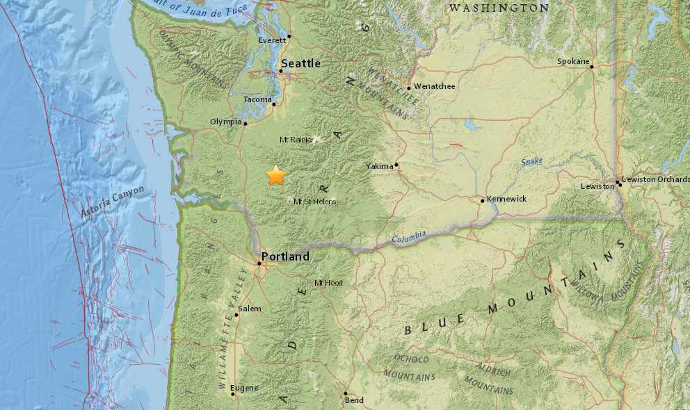Washington Earthquake Today 2015 Strikes North of Portland