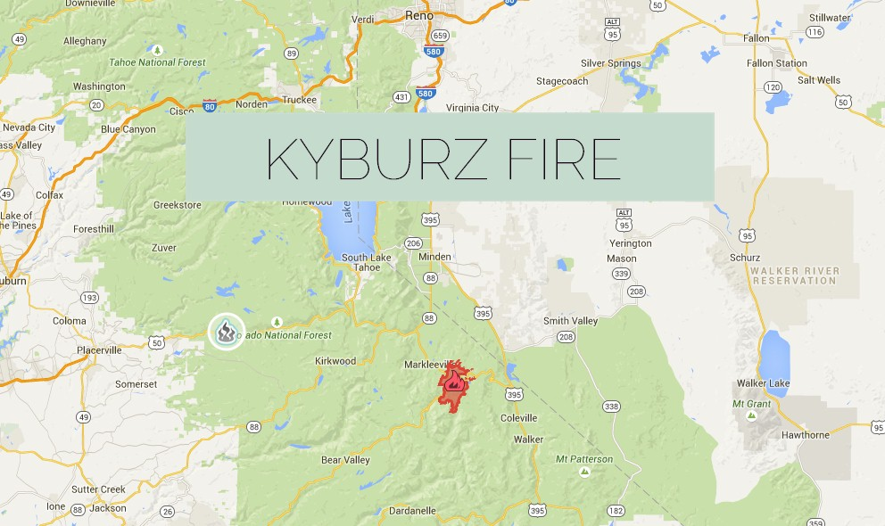 Kyburz Fire 2015 Update Grows East of Whitehall and Highway 50