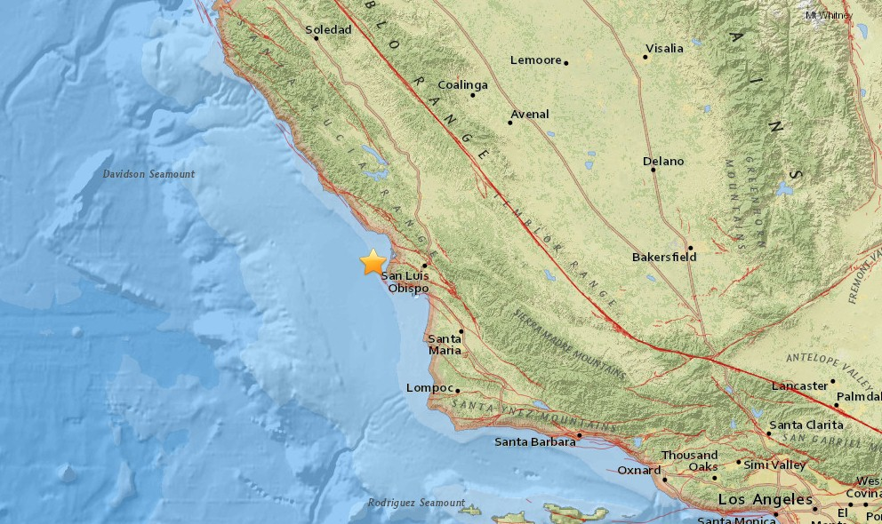 California Earthquake Today 2015 Strikes Outside LA, Near San Luis Obispo