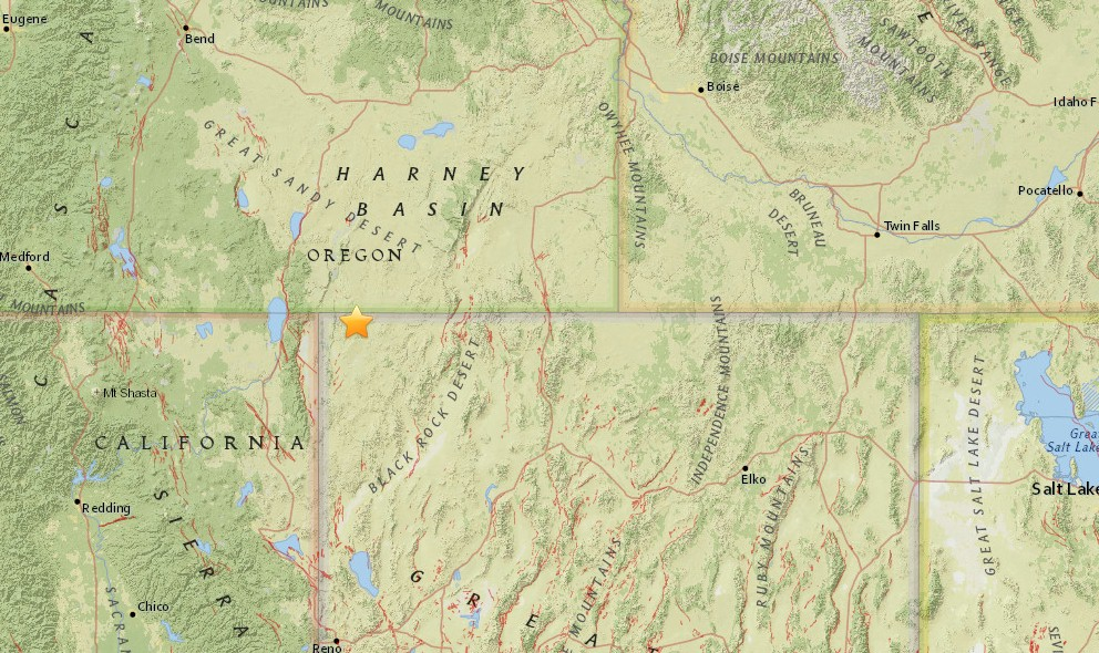 Oregon Earthquake 2015 Today Strikes East of Lakeview Again
