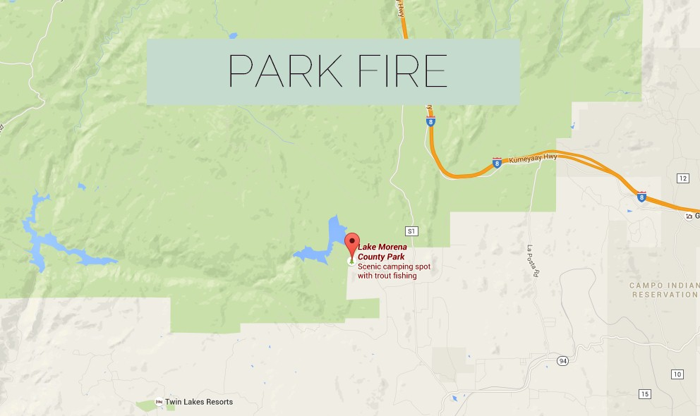 Park Fire 2015: Lake Morena Fire Spreads in Campo, California Today
