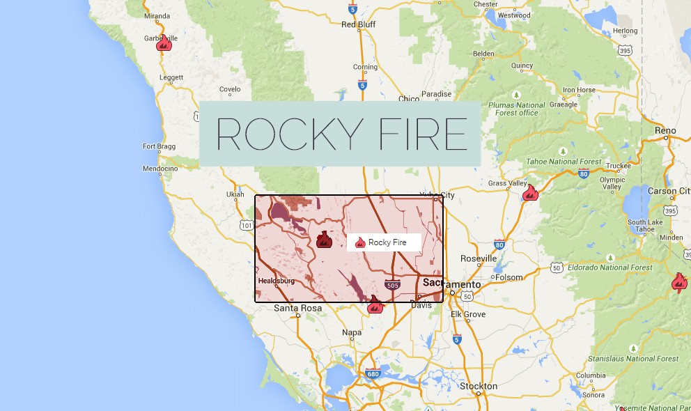 California Fires Map 2015 Rocky Fire Grows in Lake County
