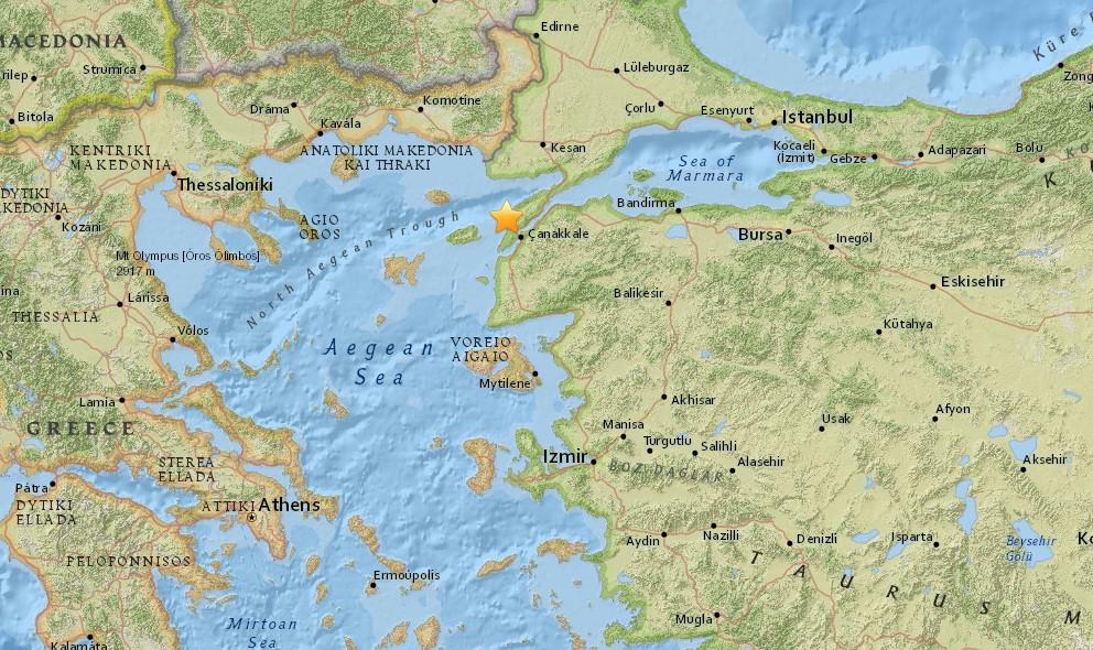 Turkey Earthquake 2015 Tonight Strikes East of Athens, Greece