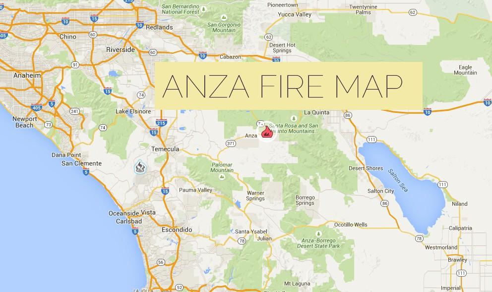 Azusa Canyon Fire Map.Anza Fire 2015 Map California Fire Burns E Of Temecula W Of La Quinta