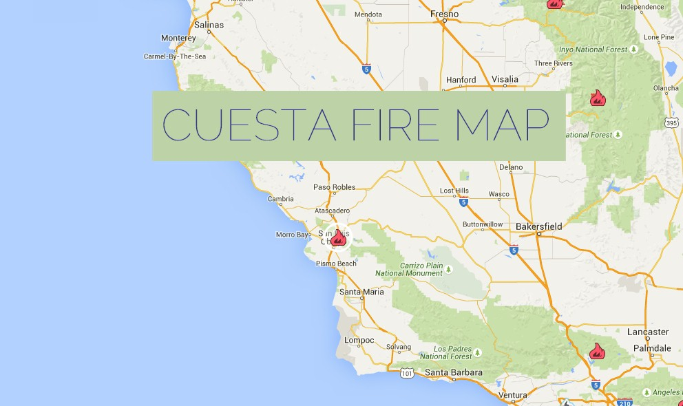 Cuesta Fire Map 2015: California Fire Map Updated