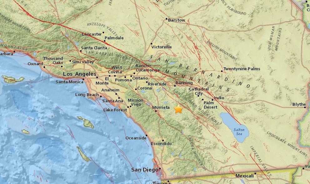 Southern California Earthquake Today 2015 Strikes NE of San Diego