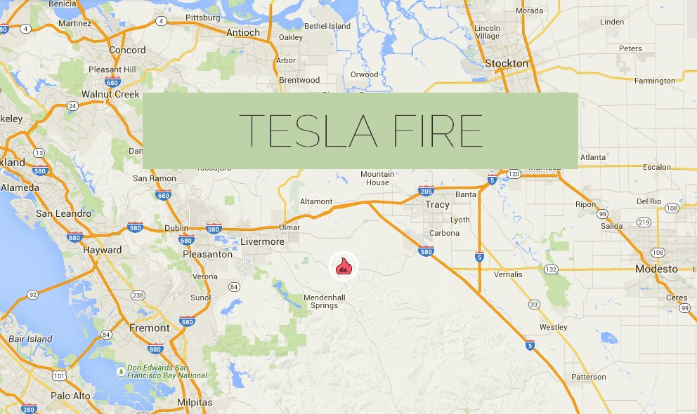 Tesla Fire Map 2015: Livermore California Fire Map Adds 2500 Acres
