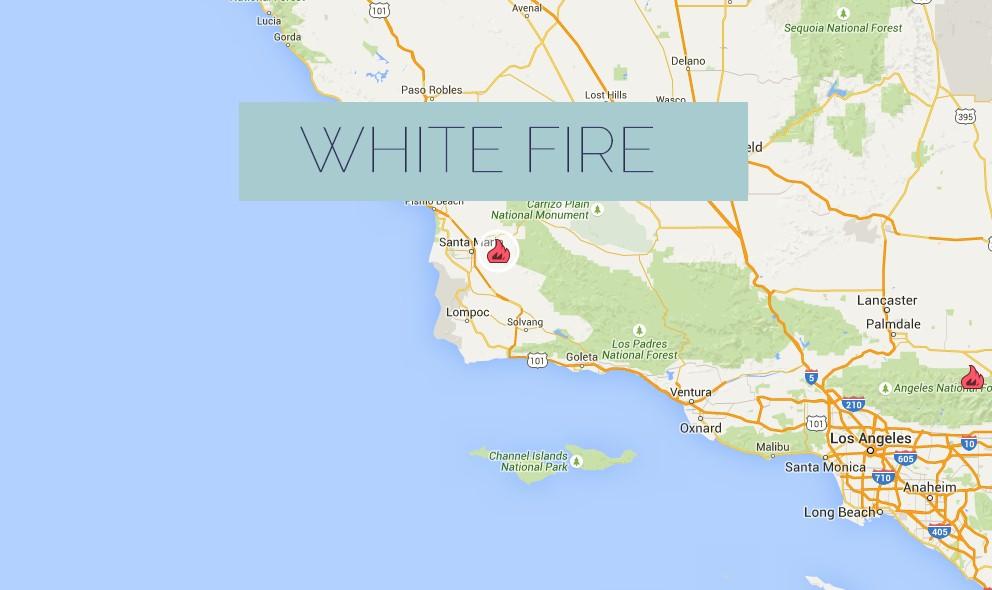 White Fire 2015 Map: Santa Barbara Fire Expands E of Santa Maria