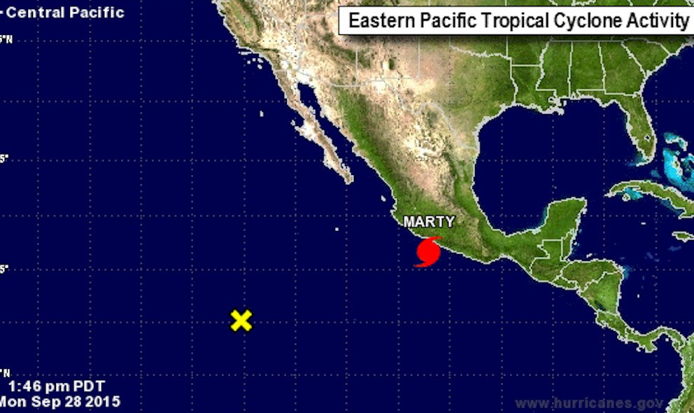 National Hurricane Center: Marty Near Mexico Weakens