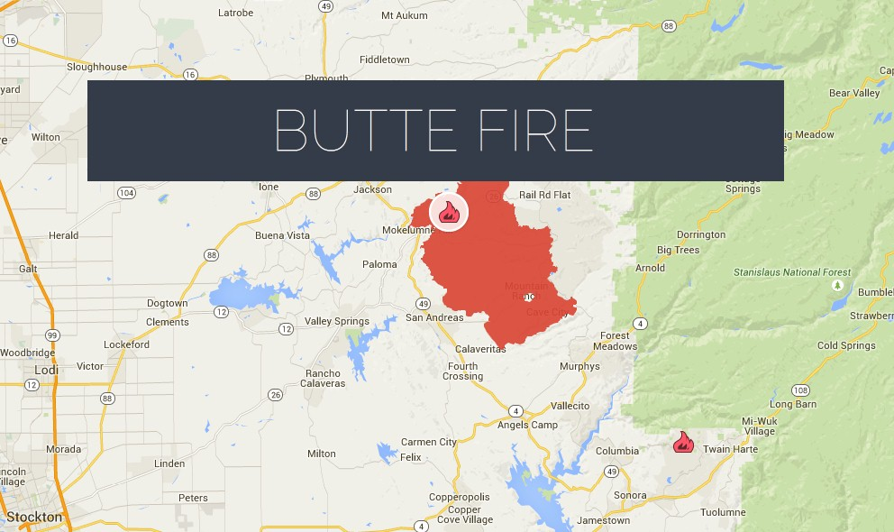 Butte Fire Map 2015: Amador, Calaveras Updated at 37% Containment