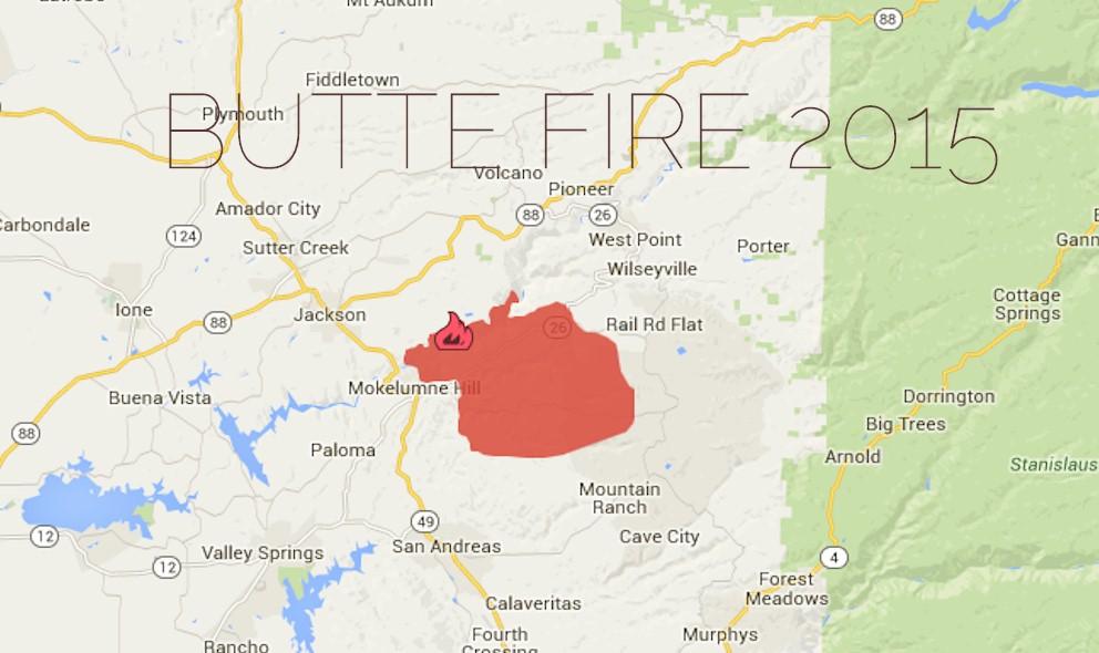Butte Fire Map: San Andreas, California Fire Threatens Amador