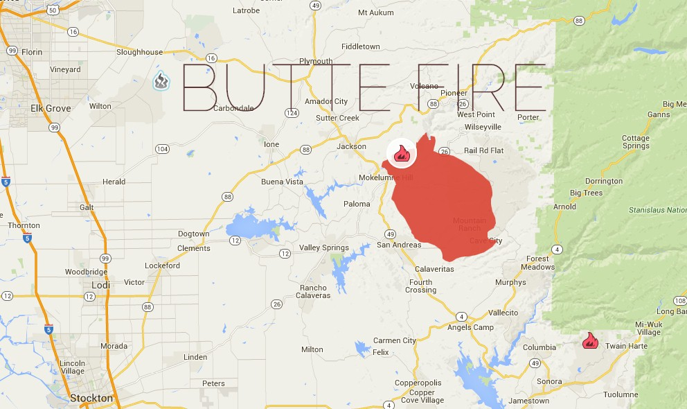 Butte Fire Map: San Andreas California Fire Map Updated Tonight 2015