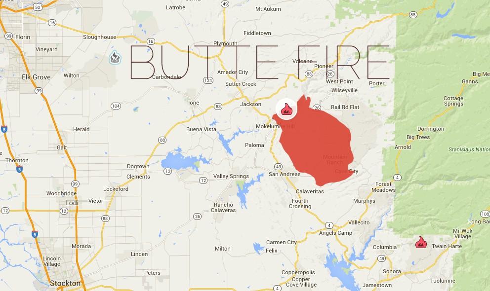 Ca Fire Map Update.Butte Fire Map San Andreas California Fire Map Updated Tonight 2015