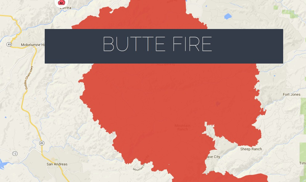 Butte Fire Map 2015 Update: Evacuated Orders Modified Today
