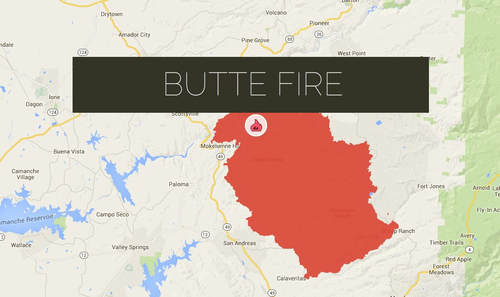 Butte Fire Map Updated: Amador, Calaveras Fire Burns 72K Acres