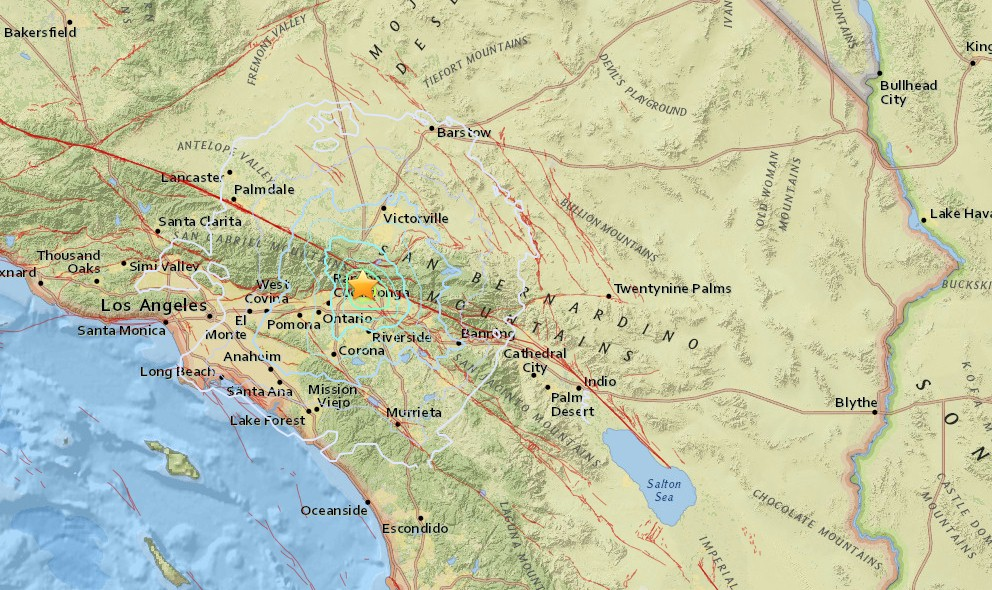 California Earthquake 2015 Today Strikes E of Los Angeles, So Cal