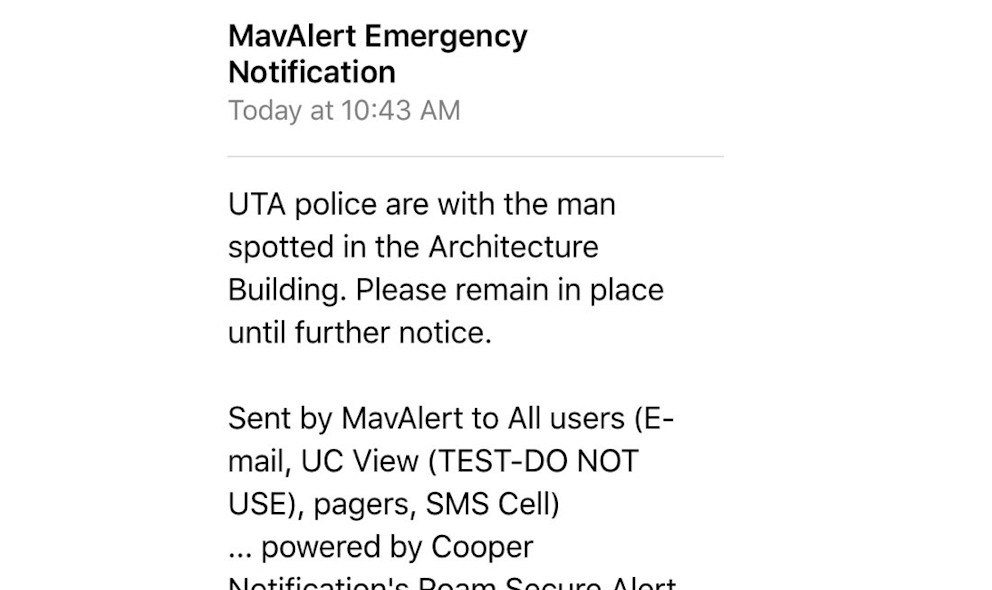 UT Arlington Architecture Building Lockdown 2015 Today Issued