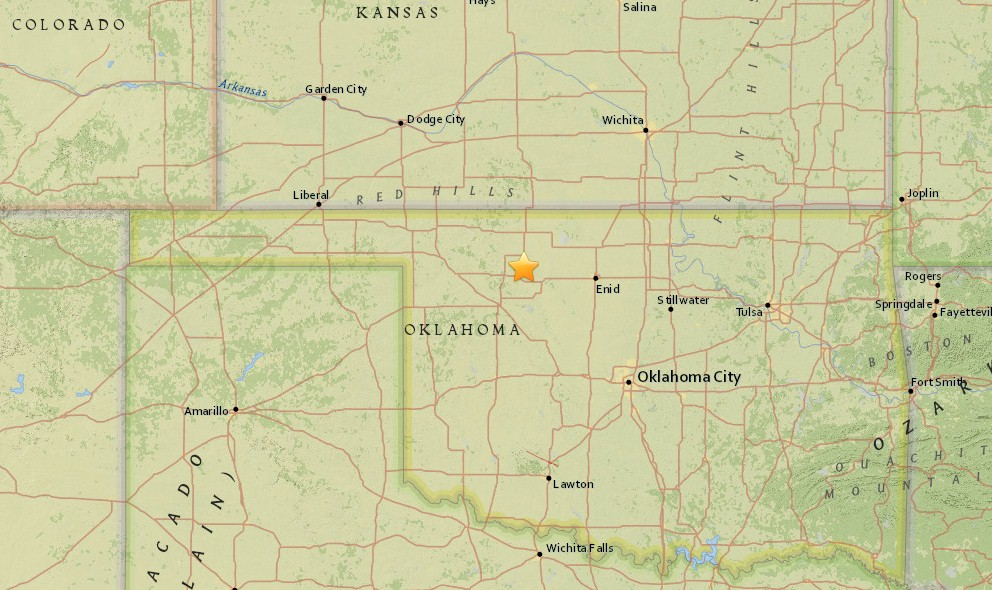 Oklahoma Earthquake Today 2016 Strikes West of Enid