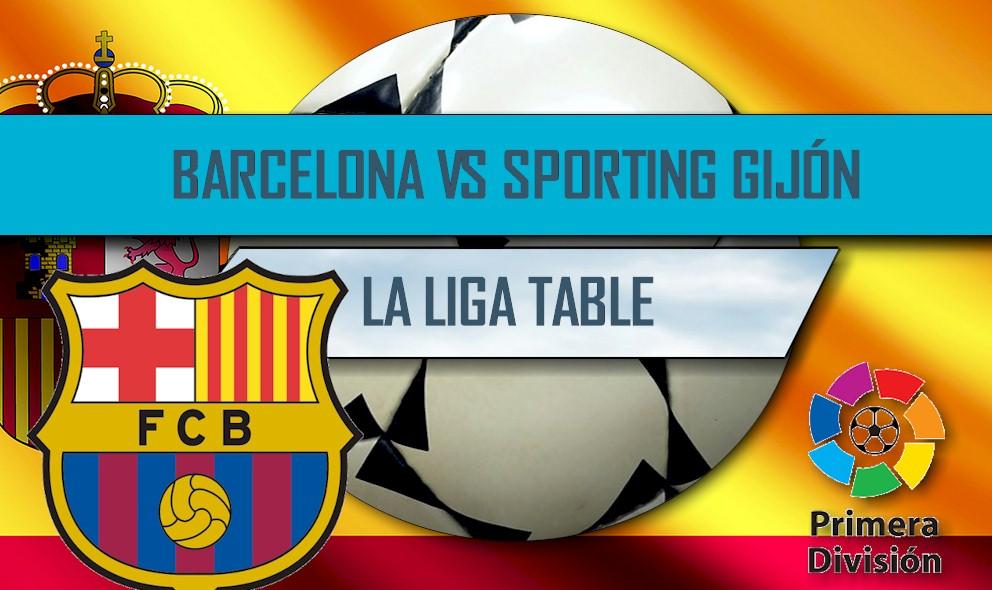 Barcelona vs Sporting Gijón 2016 Score En Vivo: La Liga Table Results