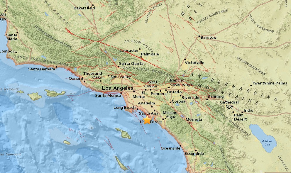 Southern California Earthquake Today 2016: Newport Beach, OC