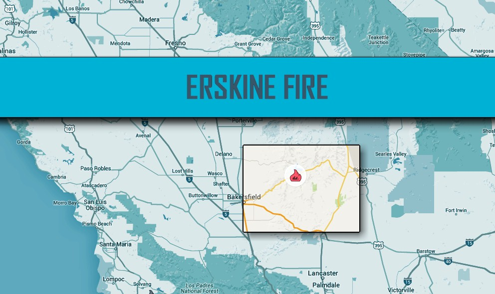 Erskine Fire Map 2016: Lake Isabella Fire Map at 30K Acres