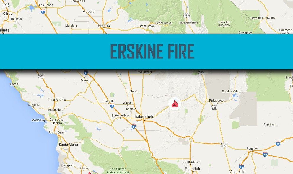 Erskine Fire Map 2016: Kern Fire Map 2016 Today Grows in CA