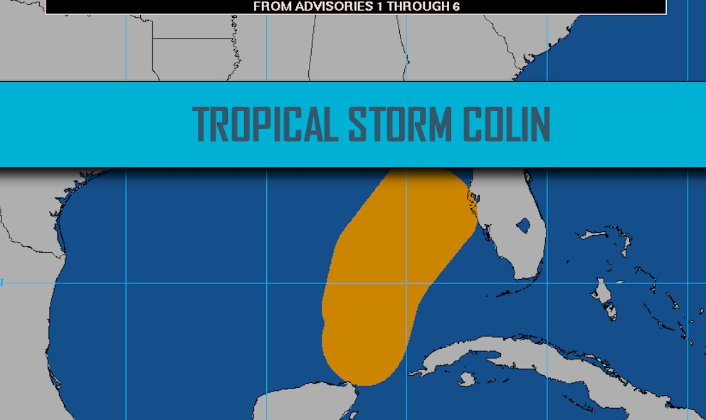 Tropical Storm Colin Projected Path 2016: Big Bend to Georgia