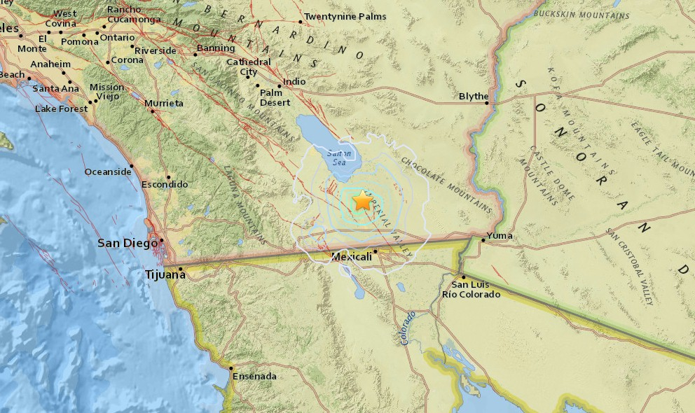 Southern California Earthquake Today 2016 Strikes Brawley, E of San Diego