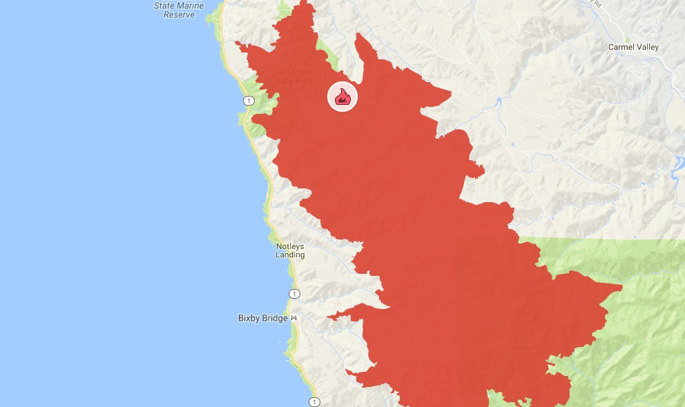 Soberanes Fire Map 2016 Update New Evacuations For Monterey Big