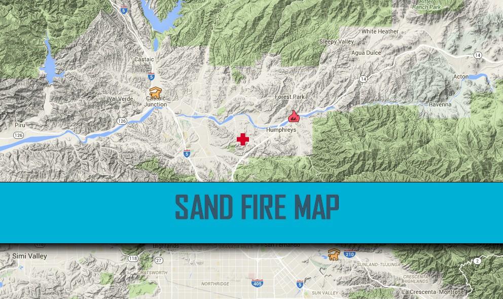 Sand Fire Map 2016: Santa Clarita Fire, Los Angeles Fire at