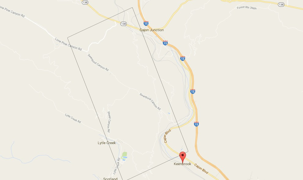 Blue Cut Fire Map: Cajon Pass I-15 Fire, Highway 135 in San