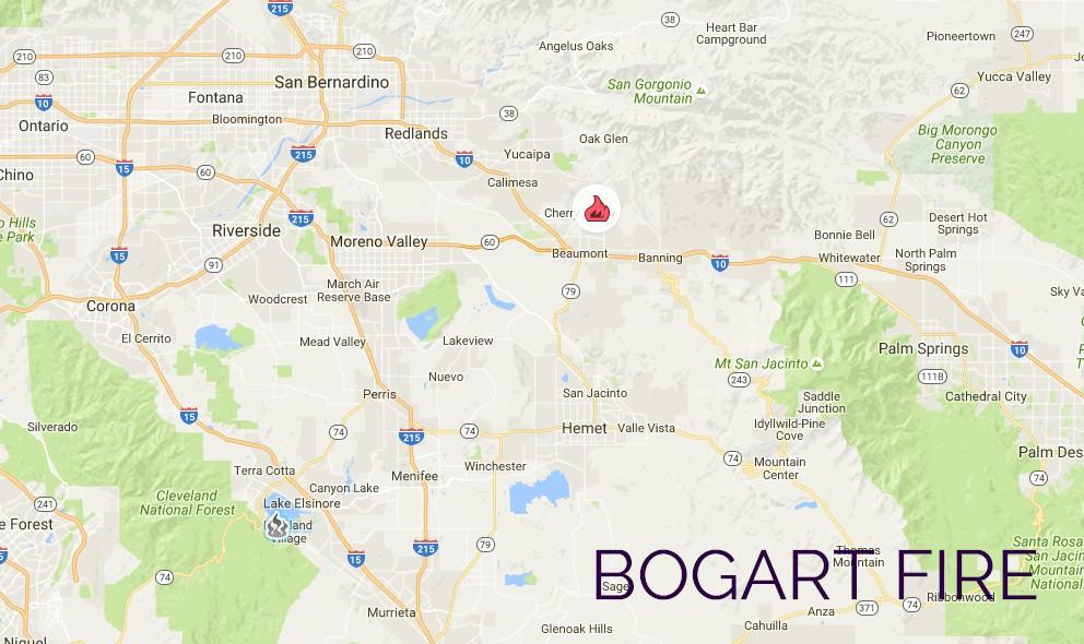 Bogart Fire Map 2016: Riverside Fire Near Cherry Valley, Beaumont