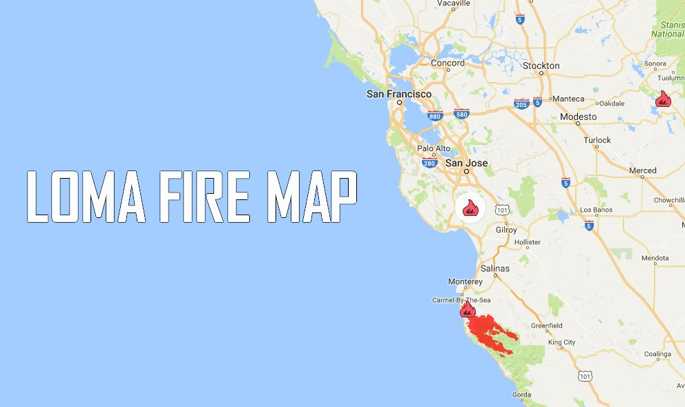 Loma Fire Map 2016 Update Santa Clara Fire Map Grows Overnight