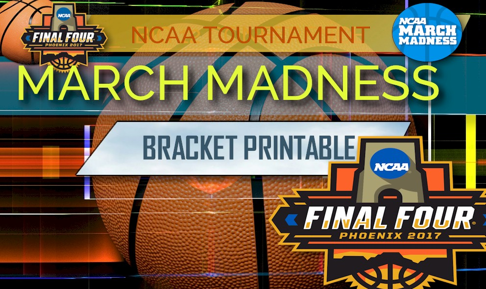photograph relating to March Madness Tv Schedule Printable referred to as March Insanity Bracket Printable 2017 Program, Dates, Television Channel