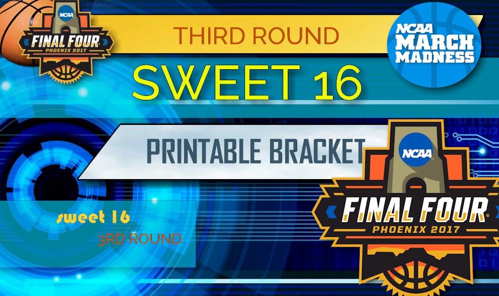 photo relating to Sweet 16 Printable Bracket referred to as Cute 16 Bracket: 2017 NCAA Basketball Bracket Printable