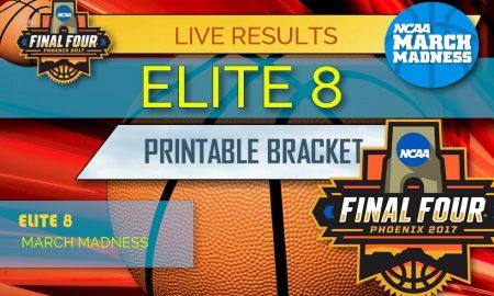 Elite 8 Bracket 2017 Printable: March Madness NCAA Tournament Bracket
