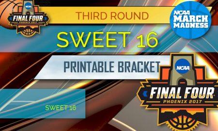 Sweet 16 Bracket Printable 2017: NCAA Sweet 16 Bracket Printable