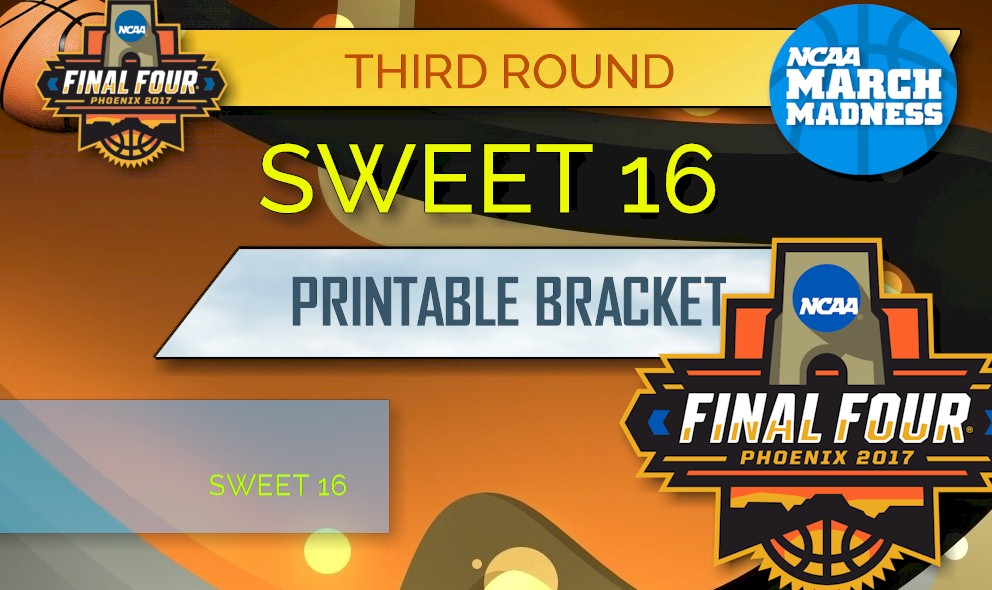 image relating to Sweet 16 Printable Bracket named Cute 16 Bracket Timetable 2017 Printable: March Insanity