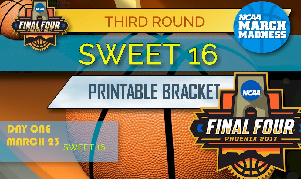 image regarding Sweet 16 Printable Bracket identified as Lovable 16 Bracket 2017 Printable: NCAA Adorable 16 Bracket