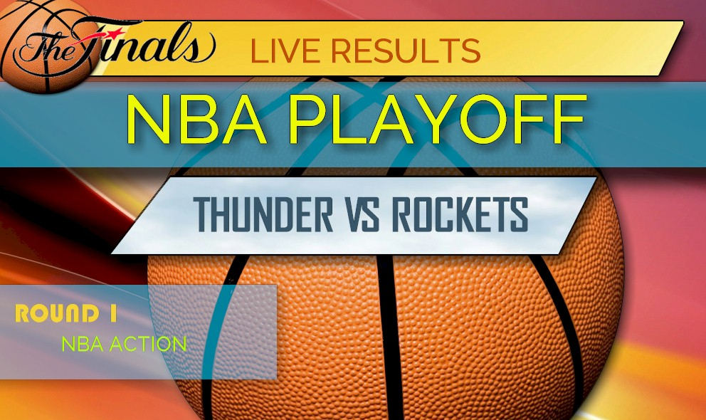 graphic about Nba Playoffs Printable Brackets named Thunder vs Rockets: NBA Basketball Playoff Bracket Printable