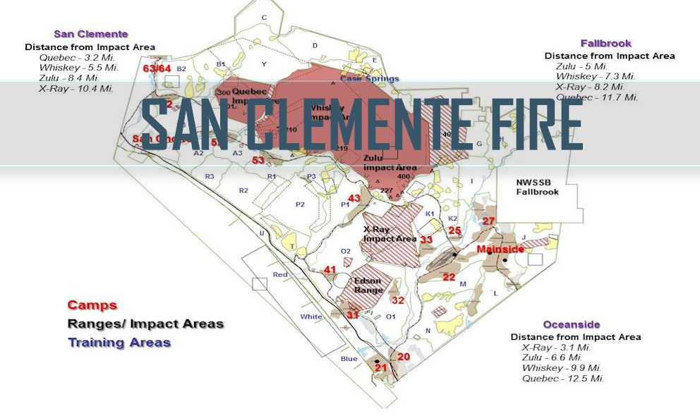 Camp Pendleton Fire, Cristianitos Fire Map: San Clemente Fire on
