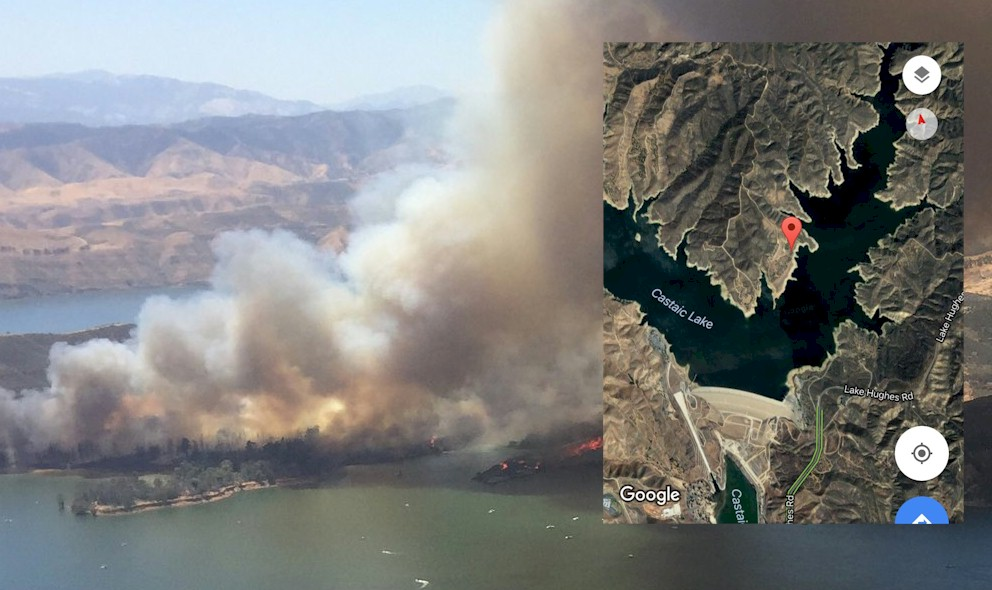 Castaic Lake Fire N of Santa Clarita: Lake Fire Map Grows