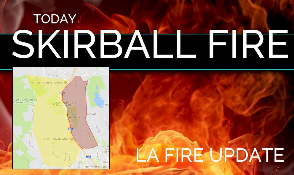 Skirball Fire Evacuation Zone Map: Brentwood Bel Air Fire