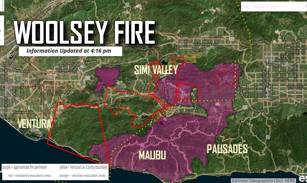 Woolsey Fire Map Update: Los Angeles Fire Evacuations Update