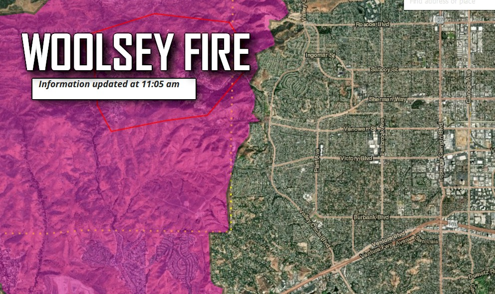 Hills Fire Map.West Hills Fire Map Woolsey Fire Near Valley Circle Blvd