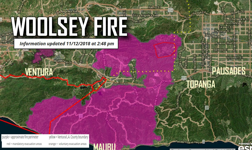 Woolsey Fire Map 2018 Woolsey Fire Evacuation Update