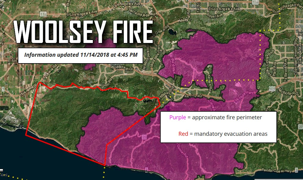 Woolsey Fire Map Update Woolsey Fire Evacuation Orders